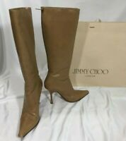 Jimmy Choo Women's Pointed Boots Khaki Leather Knee High Stiletto US 9 IT 39.5