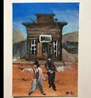 Original Aceo Acrylic Western Cowboy Painting
