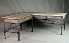Vintage Industrial L Shaped Desk. Wood Desk with Return. Rustic Office Furniture