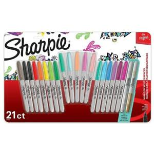 Brand New Sharpie Fine-Point Permanent Markers Combo Pack - Assorted 21 Count