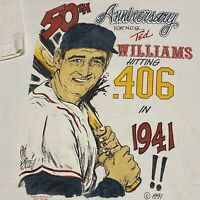Vintage 90s Ted Williams Boston Red Sox T Shirt Adult L White MLB Baseball USA