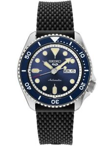 New Seiko 5 Automatic Blue Dial Rubber Strap Men's Watch SRPD93