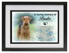 Personalised Dog / Pet ashes photo frame urn, Airdale Terrier memorial keepsake