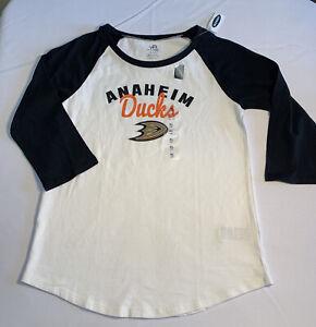 NHL Anaheim Ducks Hockey ~ 3/4  Reglan Sleeve Graphic Tee ~ Size XL ( 14 )