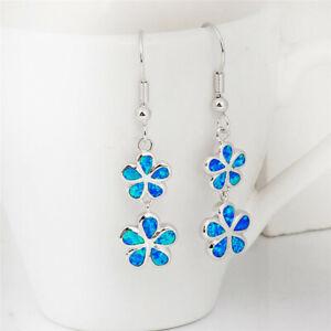 Women'S Flower Blue simulated Opal Earrings Hook Drop Dangle Earring Jewelry