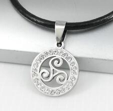 Silver Crystal Celtic Spiral Triskelion Triskele Pendant Black Leather Necklace