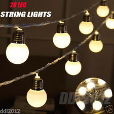 20 LED Color String Fairy Lights For Xmas Wedding Outdoor Party Decor Bulbs 110V