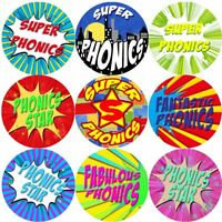 144 Superhero Phonics 30mm Reward Stickers for School Teachers, Parents, Nursery