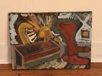Vintage Folk Outsider Art Painting American Artist Signed MICHAEL SHEEDY 1986