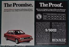 1985 RENAULT ALLIANCE 2-page advertisement, red 4-door