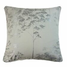 """FILLED JACQUARD TREES SILVER GREY PIPED 17"""" - 43CM CUSHION"""