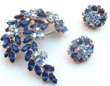 TRIFARI Vintage Brooch Earrings Beautiful Blue & Aurora Borealis Rhinestones
