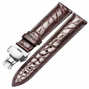 Alligator Genuine Leather Watch Band Butterfly Clasp Wrist Strap 18 19 20 21 22