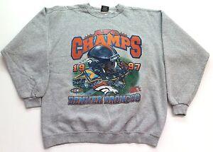 Vtg 1997 Denver Broncos AFC Champs Helmet STARTER Sweatshirt Size L. .EUC