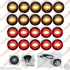 "10 NEW 3/4"" CLEAR/AMBER & 10 CLEAR/RED LED MARKER BULLET LIGHTS COMBO BLACK TRIM"