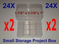 "48 SMALL STORAGE PROJECT BOX DIY CLEAR CONTAINER HOLDER SNAP LOCK 1"" x 1-7/8"""