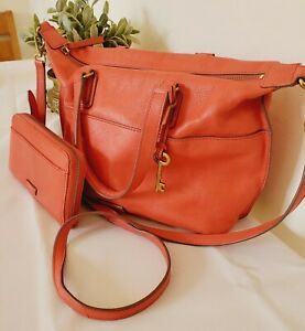 Fossil Leather Bag Multiway Orange Tote Shoulder Bag with matching purse