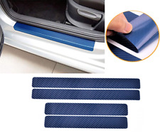 4x 3D Carbon Fiber Vinyl Decal Car Door Sill Blue Scratch Protect Stickers AHM J