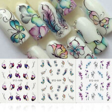 3 Sheets Flower Butterfly Nail Art Water Transfer Decals Stickers Tips DIY Sexy