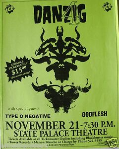 DANZIG / TYPE O NEGATIVE / GODFLESH 1994 NEW ORLEANS CONCERT TOUR POSTER