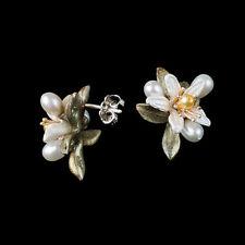 Orange Blossom Earrings w/ Pearls - Large Posts - Michael Michaud Jewelry