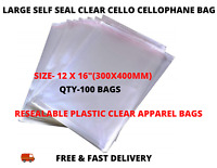 """100 x Large 12x16"""" Self Seal Clear Cello Cellophane Bags  Plastic Apparel Bags"""