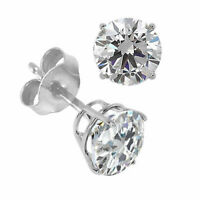 1.00 CTW Round Simulated Diamond Basket Stud Earrings 14K White Gold