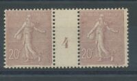 MILLESIME 4 sur Semeuse lignée N°131, 20c. brun-lilas NEUF* COTE 320€ P1335