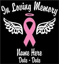 "In Loving Memory Vinyl Decal w/Pink Ribbon & White Wings Personalized 6""H"