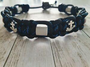 EM Keramik Halsband mit Anker Maritim Schwarz/Blau 25-30 cm NEU
