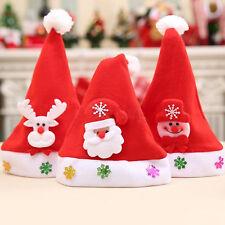 Weihnachtsmütze Nikolaus Mütze LED 3er Set Kinder Weihnachtmützen blinkend Hut