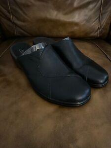 Womens Clarks Slide Clog Wedge Shoe Black Leather US 11 Med #84610