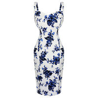 Hearts & Roses London Blue White Floral Vintage 1950s Retro Pencil Wiggle Dress