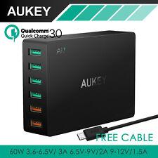 GENUINE Aukey 60W 6 Port USB AC Wall QC 3 Dynamic 3.2-12-5V/2.4A PA-T11