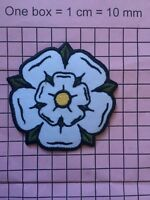 #698 white rose Yorkshire embroidered iron on sew on patch