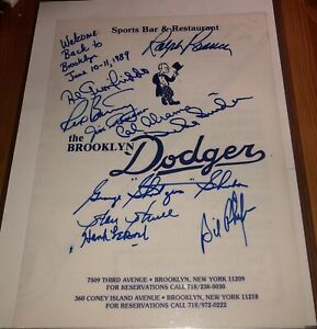 Two Brooklyn Dodgers Menus Rare Multi-Signed Total Of 15 Autos W/Duke Snider JSA