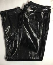 Womens Plus Size 14W Pant Tapered Leg Patent Paperbag with Belt Black