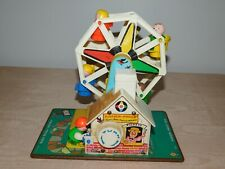 VINTAGE TOY 1966 FISHER PRICE WIND UP MUSICAL FERRIS WHEEL + 4 LITTLE PEOPLE