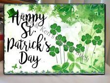 Vintage Wooden Sign Happy St Patrick's Day Shamrocks Irish Sign Lucky Clovers
