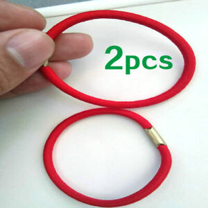 01# Red Rubber Bands Cord Elastic Hairbands Hair Tie Rope x2
