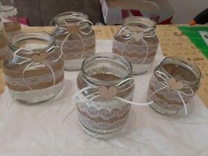 5-Vintage-Deko-Gläser,Vasen,Landhaus, Tischdeko,Hochzeit