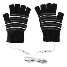 Men USB Heated Warm Gloves Half Finger Winter Heating Knitting Mittens Black