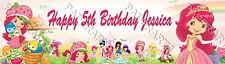 Personalize Strawberry Shortcake Birthday Banner 8.5x30 Glossy Name Poster
