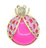 Pink Purple LadyBug Jelly Belly Brooch MOD Vintage Goldtone Pin Unsigned