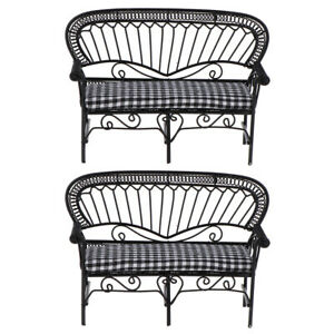 2Pcs 1:12 Dollhouse Miniature Furniture Iron Double Sofa Chair Couch Bench