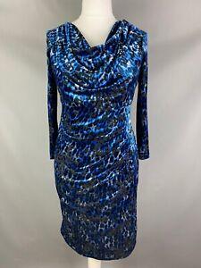 Personal Choice Size UK 14 Blue Black Velvert Leopard Print Cowl Neck Ruch Waist