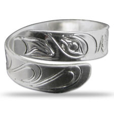Raven Silver Wrap Ring Native Northwest Coast Salish First Nations Jewlery
