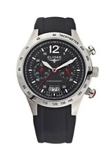 New Womens Elysee 80468 Portia Chronograph Black Rubber Strap Watch
