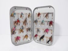 Vintage Wheatley 40 x Clip Lined Salmon Fly Box & Selection of Trout Flies