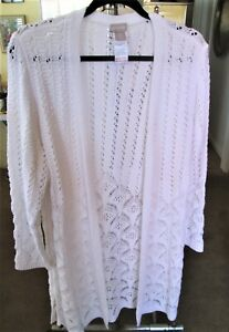Chico's Alabaster Petite Open-Front Pointelle Cardigan Size 3P (16/18P) NWT